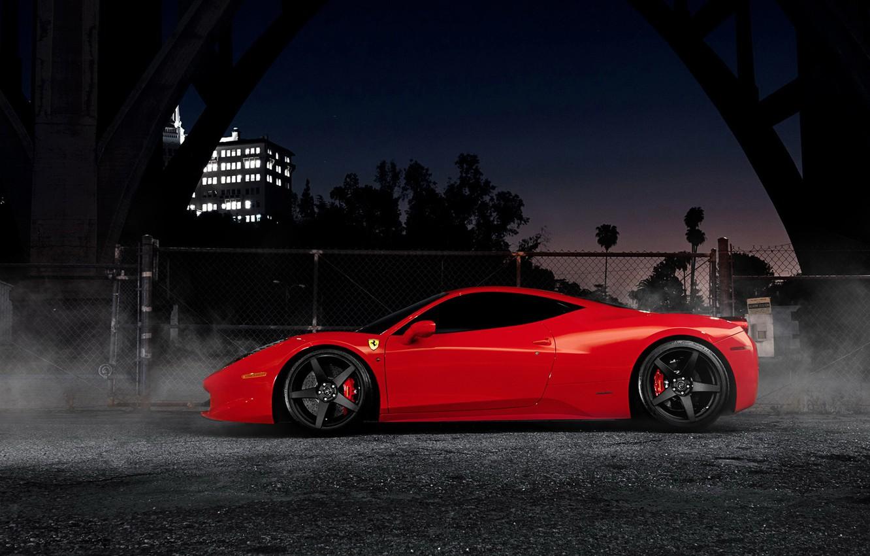 Photo wallpaper night, supercar, Ferrari, red, Ferrari 458 Italia