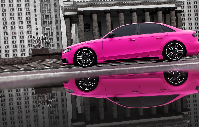Photo wallpaper audi, pink, slow