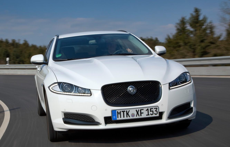 Photo wallpaper car, lights, Jaguar, Jaguar, front view, road, speed, Sportbrake