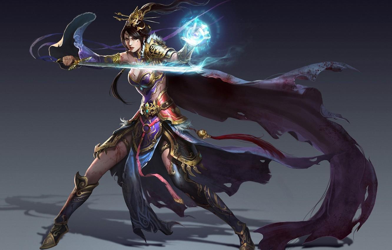 Photo wallpaper girl, background, magic, sword, fantasy, art, MAG, cloak