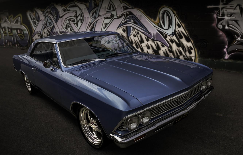 Photo wallpaper retro, Chevrolet, classic, the front, 1966, Chevelle
