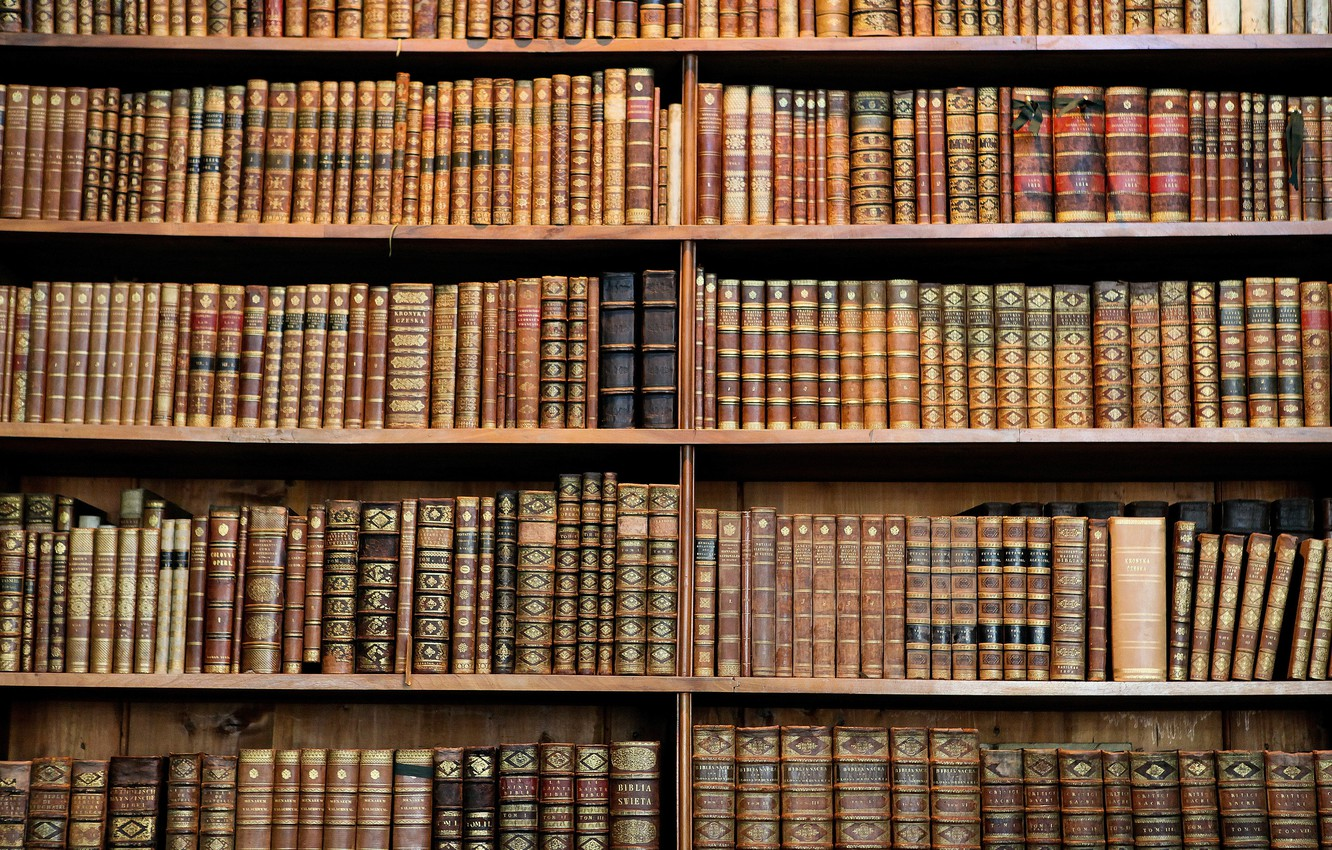 Photo wallpaper wood, books, library, hard cover