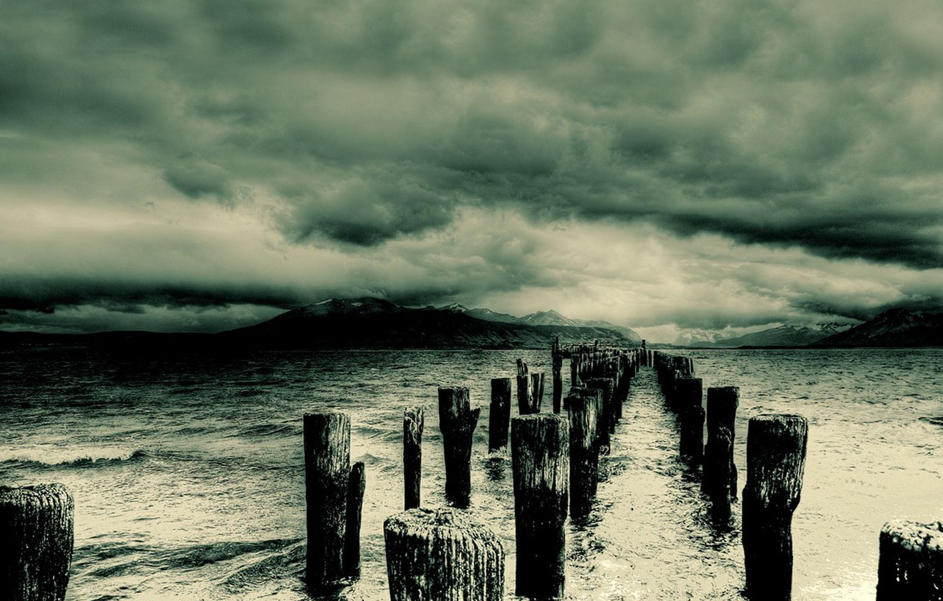 Photo wallpaper water, clouds, storm, Posts