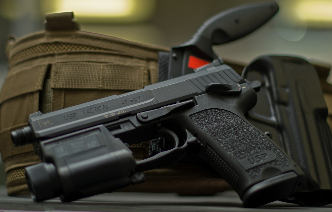 Photo wallpaper Germany, knife, holster, USP, Tactical, .40 S&W, self-loading pistol, Heckler&Koch, the possibility of using a …