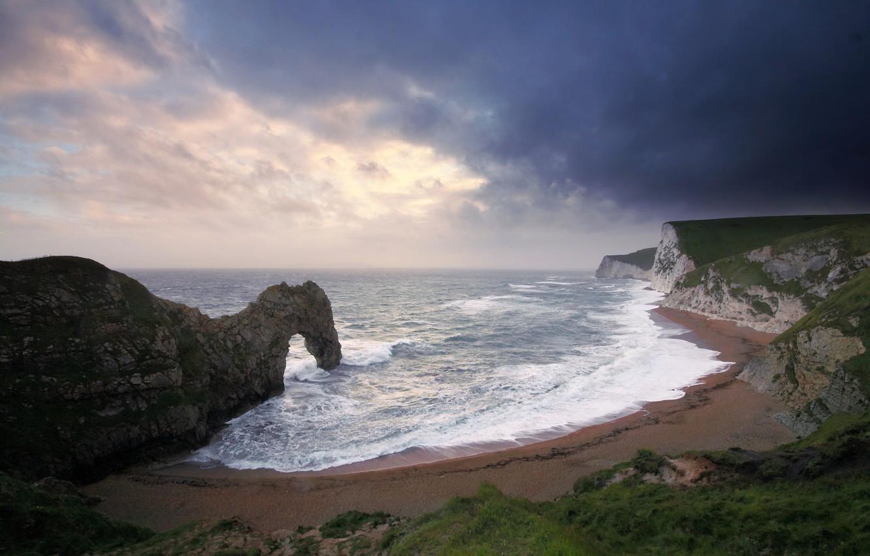 Photo wallpaper sea, wave, beach, rocks, arch