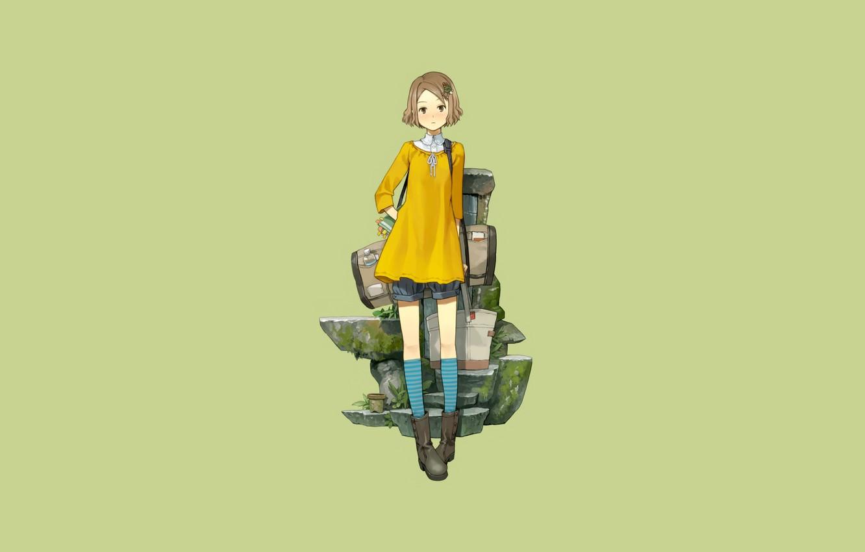 Photo wallpaper look, girl, stones, minimalism, is, bags, short hair, simple background, full-length