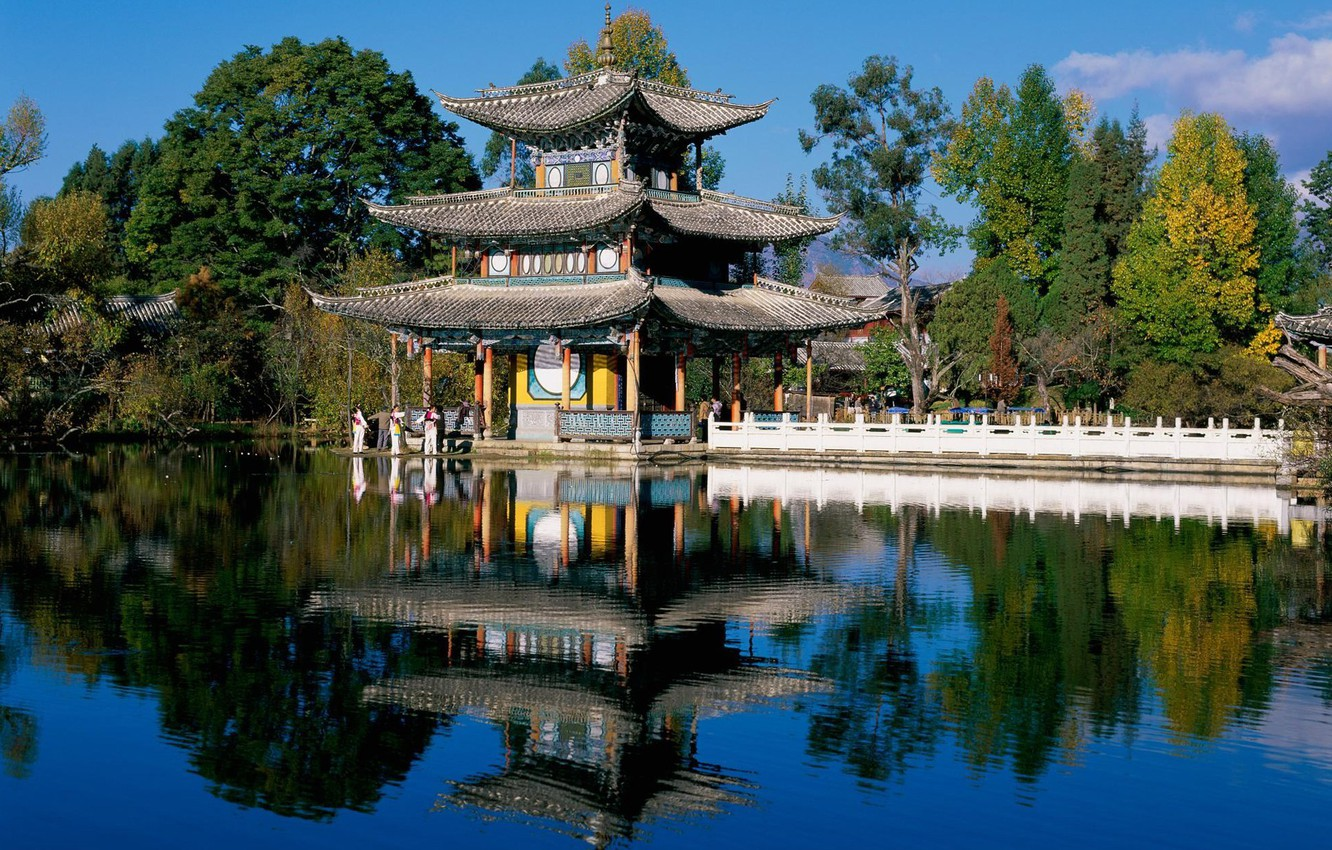Photo wallpaper roof, pond, style, house, Chinese
