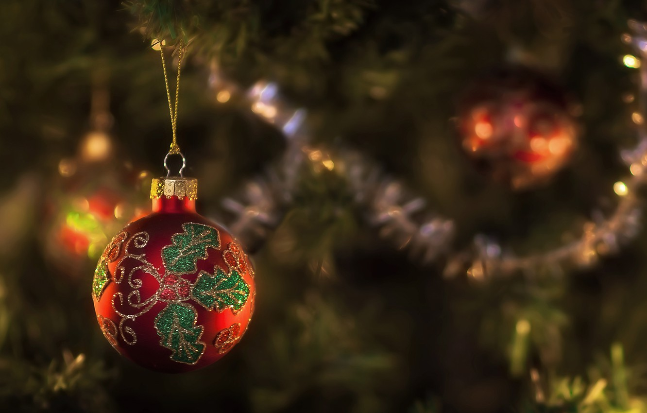 Photo wallpaper red, pattern, toy, new year, ball, spruce, focus, tree, tinsel