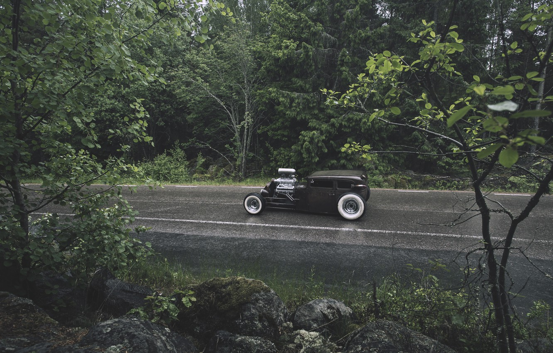 Photo wallpaper forest, rain, forest, ford, Ford, rain, rat, rod, rod, rust, RET