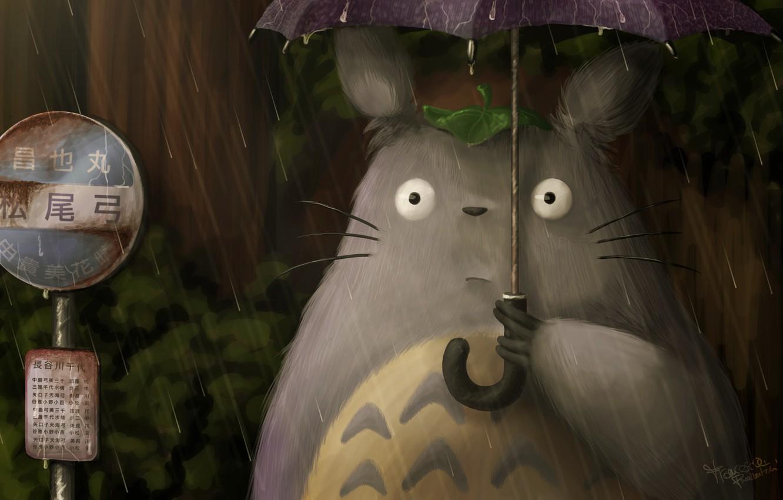 Photo wallpaper rain, Hayao Miyazaki, My neighbor Totoro, art, Totoro, fraffrog