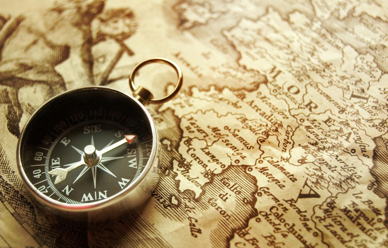 Photo wallpaper Desk, map, arrow, compass