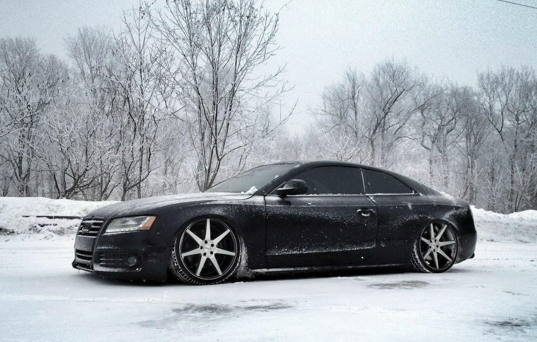 Photo wallpaper Winter, Audi, Snow, Tuning, Drives, Audi S5, Vossen