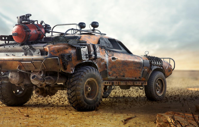 Photo wallpaper auto, desert, car, Heath, mad max