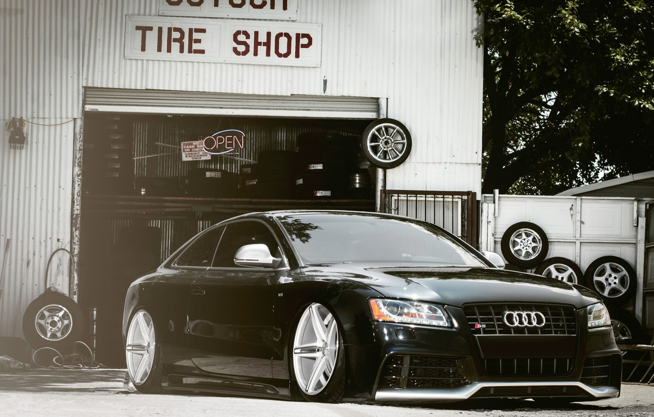 Photo wallpaper Audi, Auto, The fence, Tuning, Machine, Landing, Service, Tires