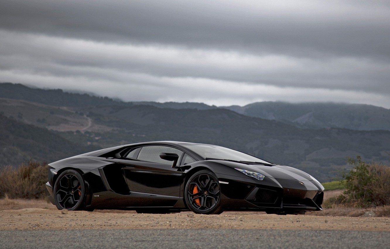 Photo wallpaper Lamborghini, car, black, Aventador, Lamborghini-Aventador-passenger-side