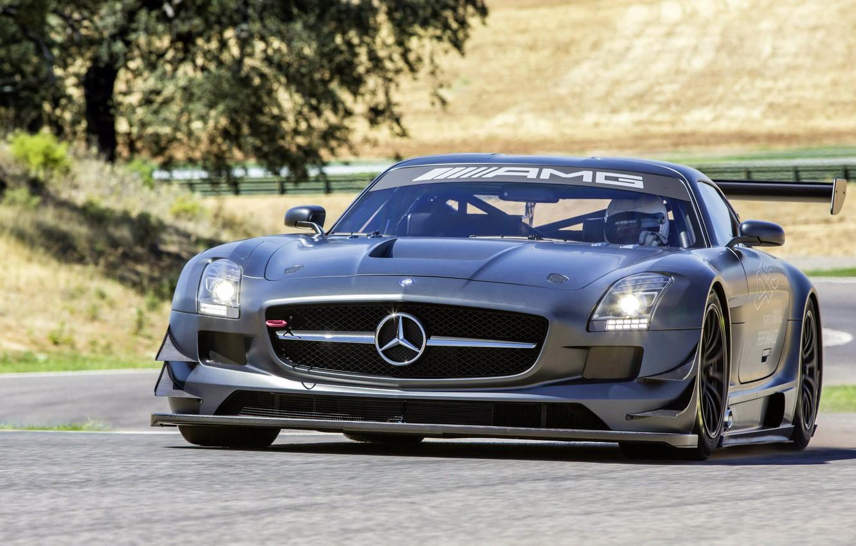 Photo wallpaper movement, tree, tuning, front view, AMG, SLS, Mercedes-Benz, Mercedes-Benz SLS