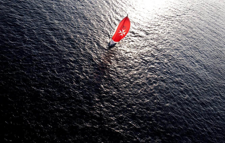 Photo wallpaper red, sea, ocean, water, boat, sail, sailboat, sailship