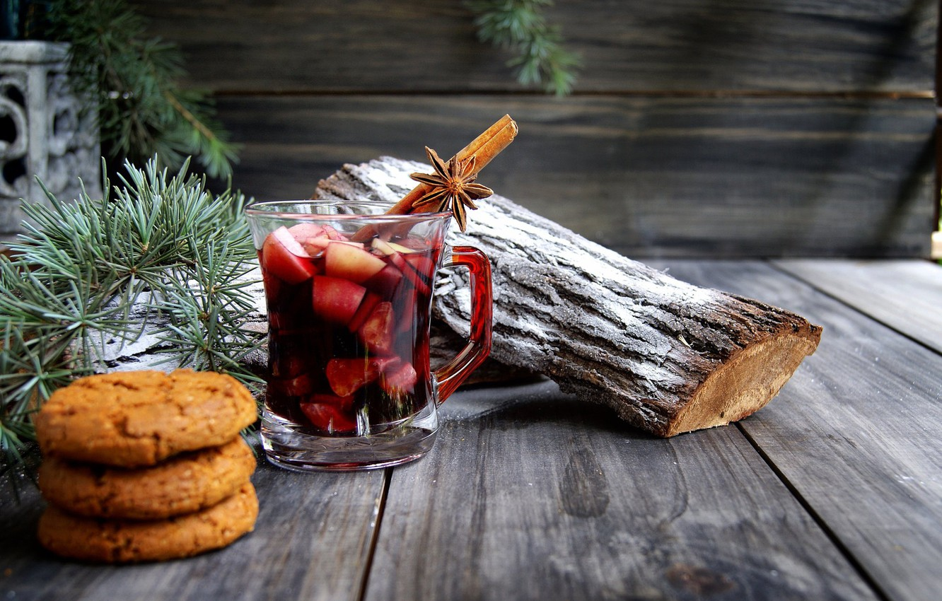 Photo wallpaper branches, holiday, Board, new year, Christmas, cookies, Cup, floor, drink, cinnamon, needles, pine, log, spices, …