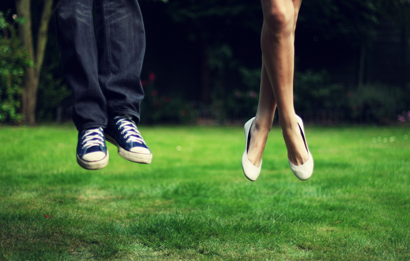 Photo wallpaper greens, grass, girl, landscape, nature, background, jump, feet, mood, sneakers, jeans, meadow, male, the rise, ...