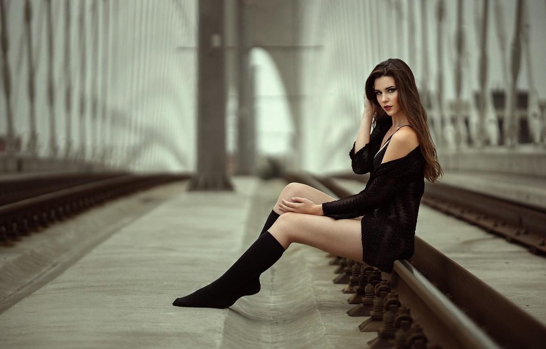 Photo wallpaper girl, bridge, rails, legs, Bára