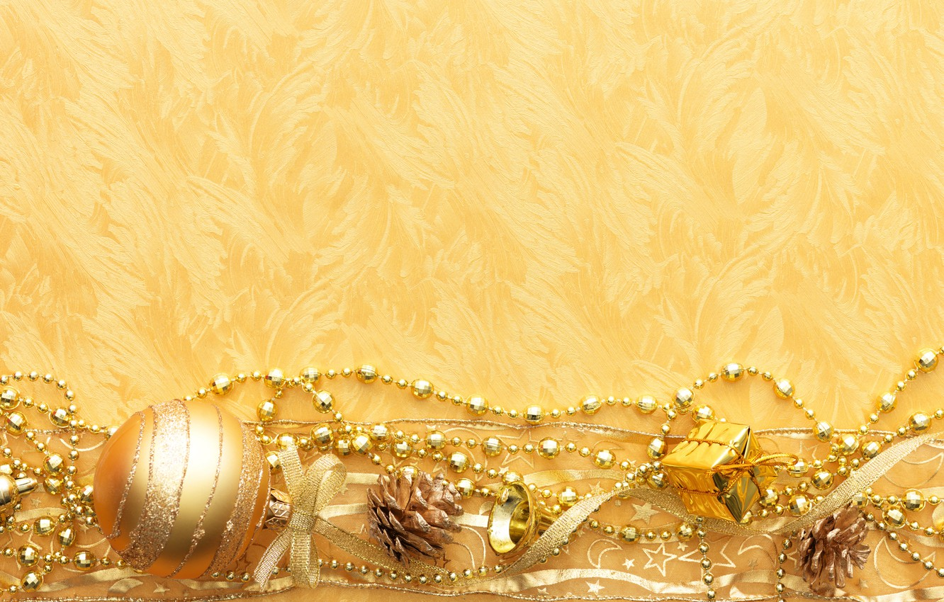 Photo wallpaper gold, Wallpaper, toys, new year, bumps, ribbons, chain