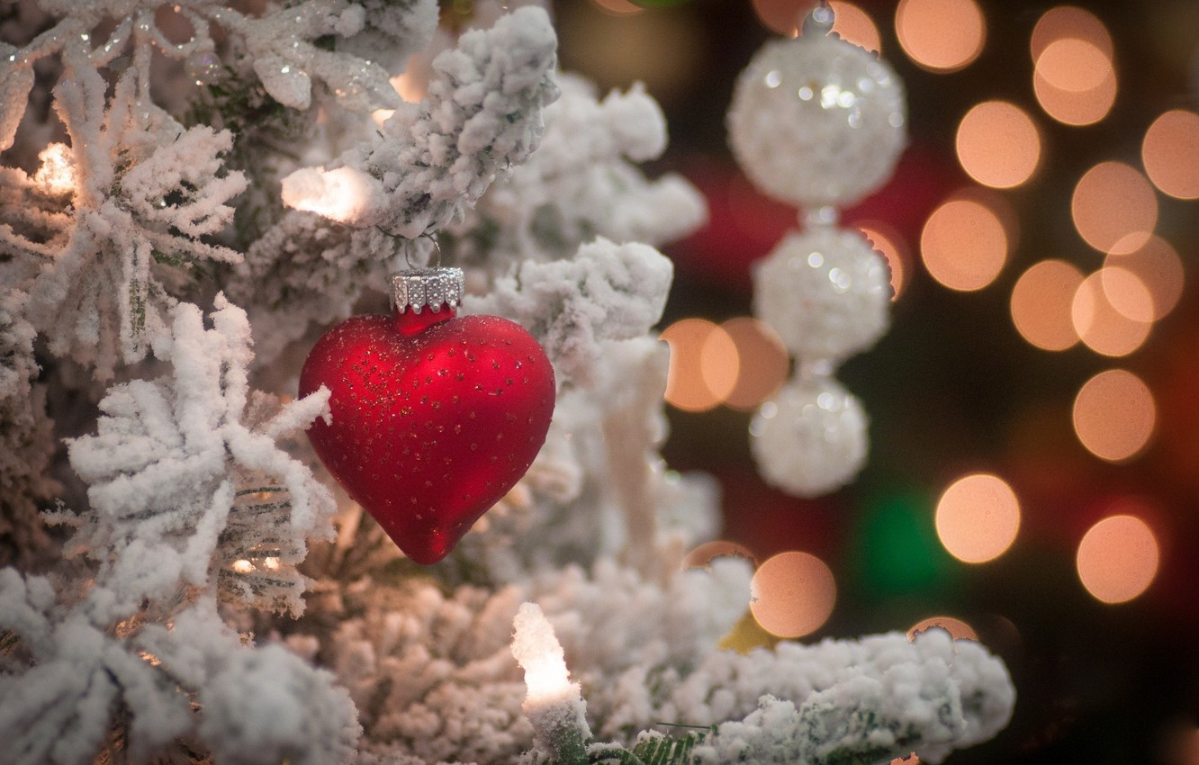 Photo wallpaper snow, branches, holiday, toy, heart, tree, new year