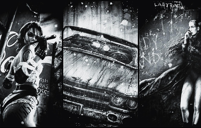 Photo wallpaper retro, black and white, cadillac, luis royo, Luis Royo