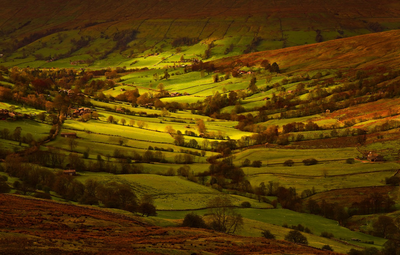 Photo wallpaper light, field, England, Yorkshire