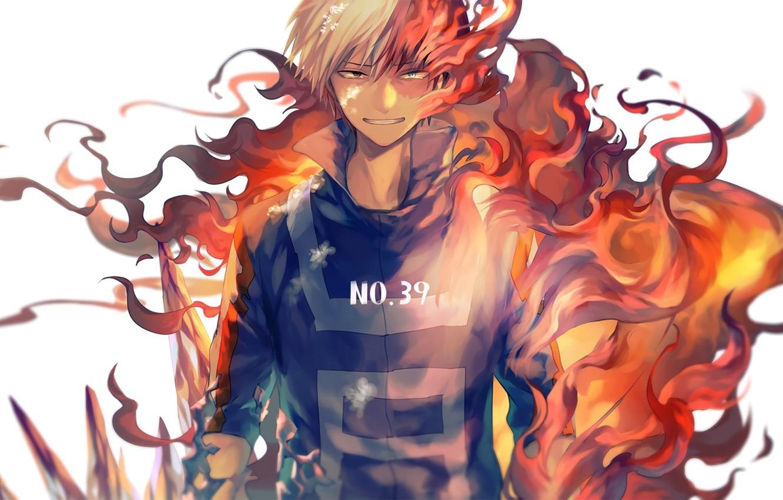 Photo wallpaper fire, anime, art, guy, Boku no Hero Academy, Hero Academy