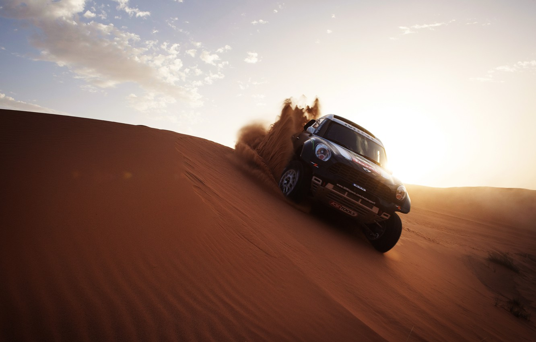 Photo wallpaper The sun, Sand, Auto, Mini, Black, Sport, Light, Race, Mini Cooper, Dakar, SUV, Rally, Mini, …