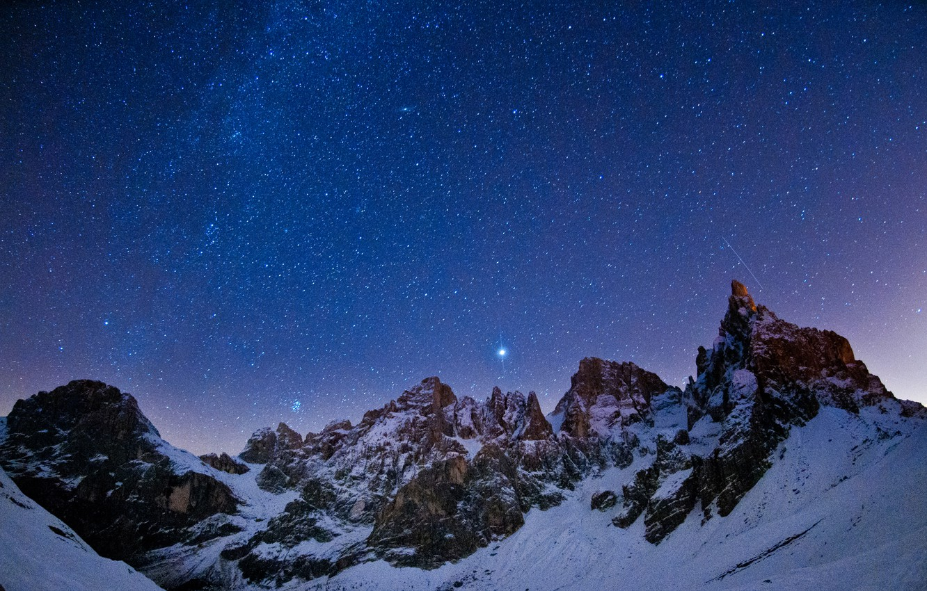 Photo wallpaper the sky, stars, landscape, mountains, constellation, night