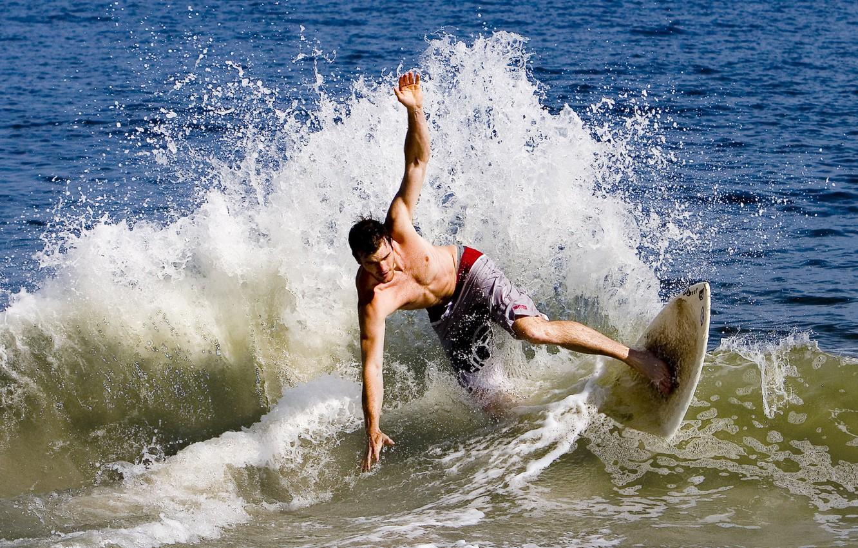 Photo wallpaper sea, wave, water, drops, squirt, the ocean, sport, Board, wave, drop, Board, guy, guys, surfing