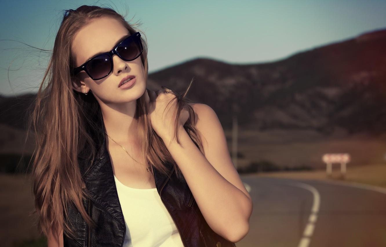 Photo wallpaper road, girl, sunglasses, hair. the wind