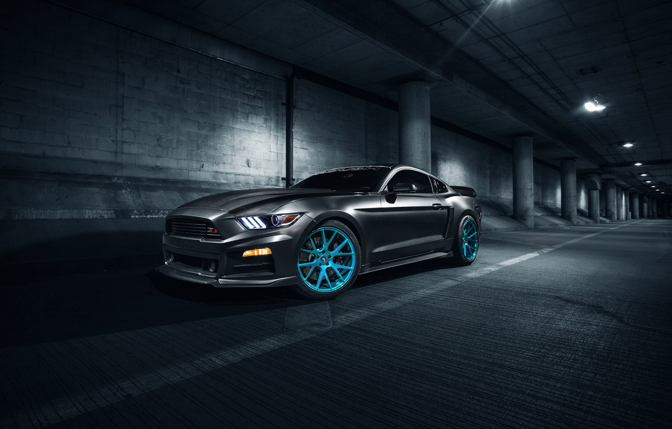 Photo wallpaper Mustang, Ford, Blue, Front, Vossen, Wheels, Roush X