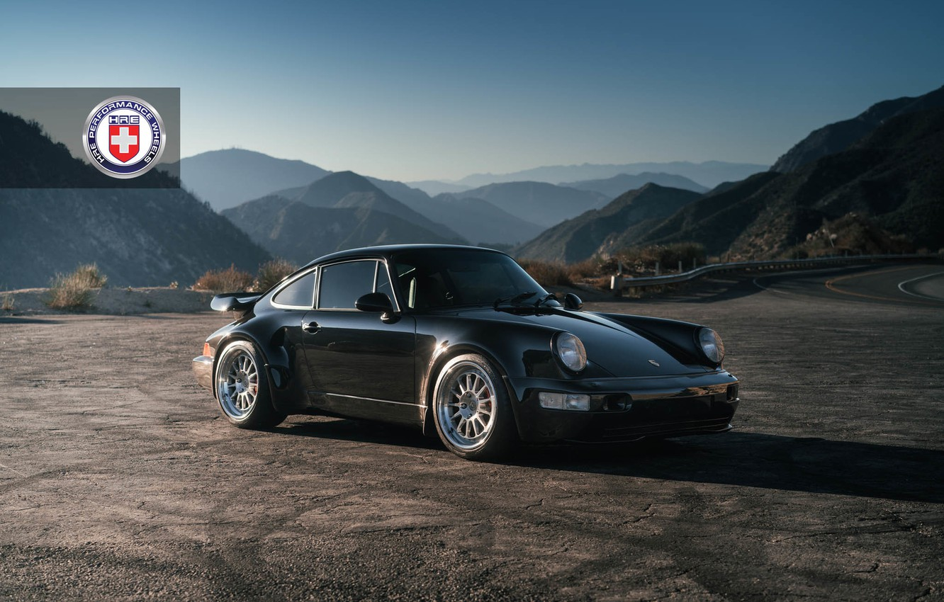 Photo wallpaper Porsche, Classic, Black, with, 964, Turbo, Clear, HRE, Brushed, 303