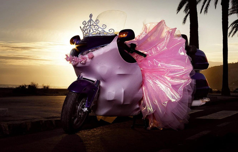 Photo wallpaper pink, skirt, Motorcycle