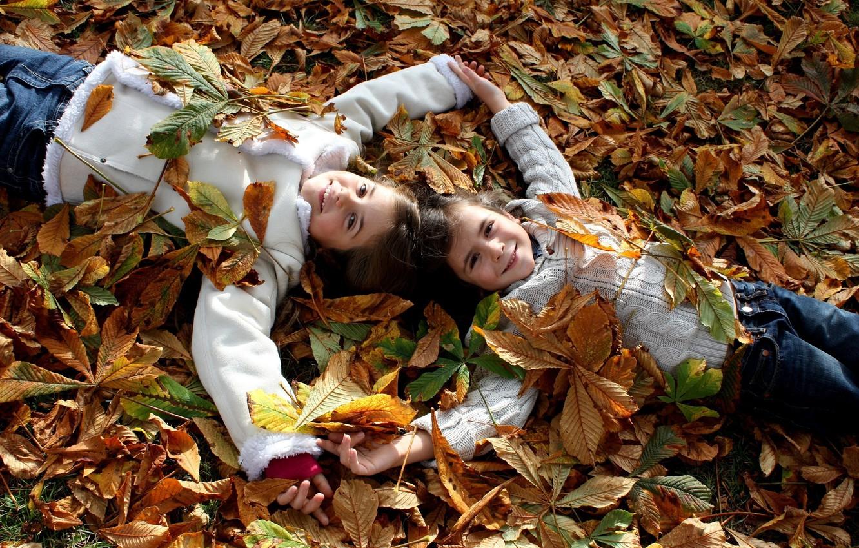 Photo wallpaper autumn, leaves, joy, happiness, nature, children, mood, child, boy, girl, smile