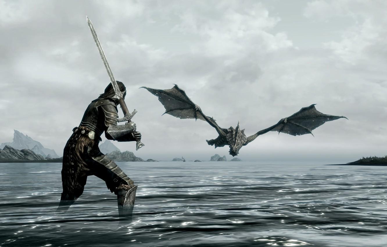 Photo wallpaper sea, dragon, sword, warrior, the, skyrim, elder, scrolls
