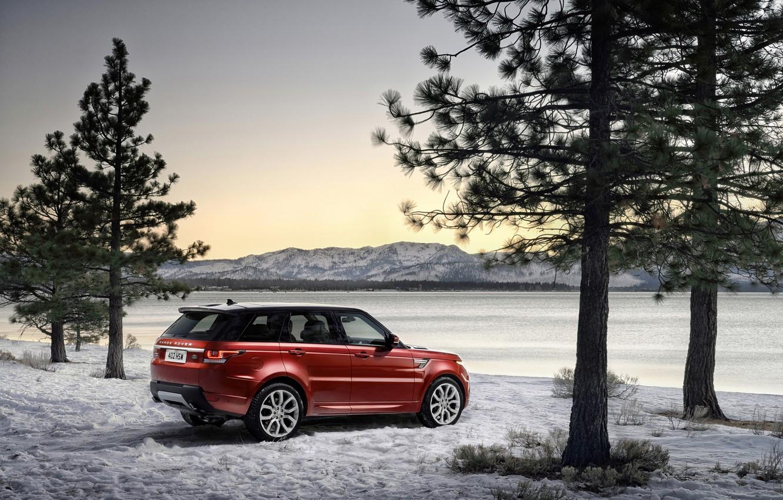 Photo wallpaper winter, trees, photo, Land Rover, Range Rover, car, Range Rover Sport, Burgundy