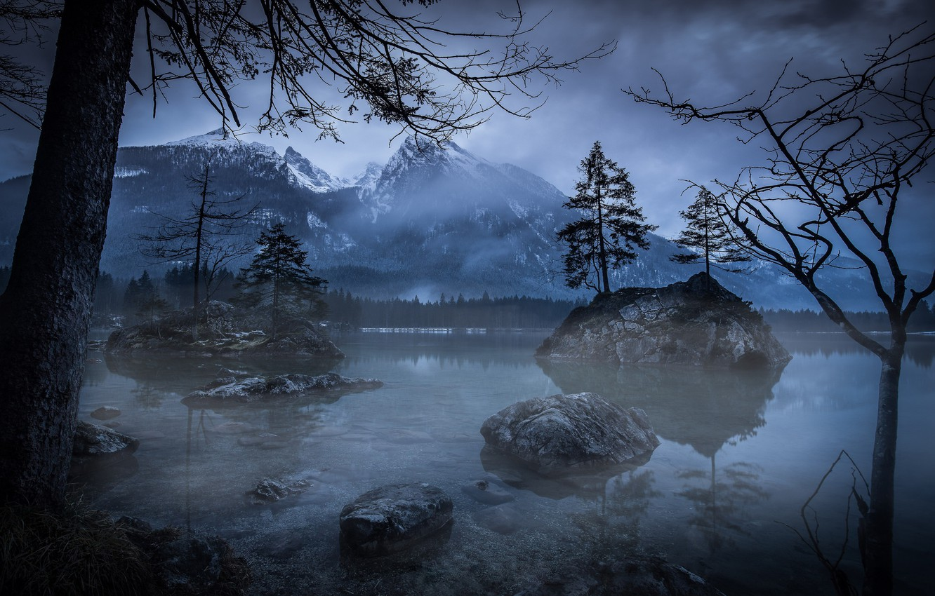 Photo wallpaper trees, mountains, night, nature, lake, the evening