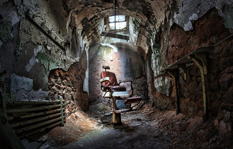 Photo wallpaper chair, devastation, prison, sunlight, Barber, sunroof
