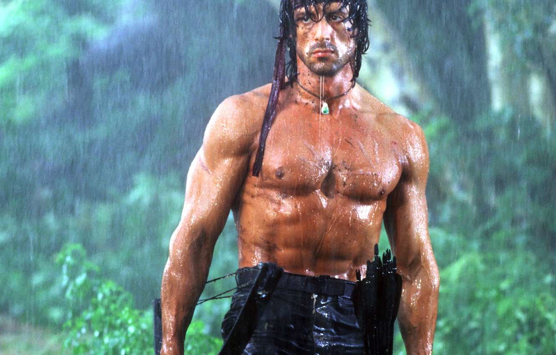 Photo wallpaper rain, movie, the film, Wallpaper, body, bow, wallpaper, male, guy, arrows, action, torso, Sylvester Stallone, …