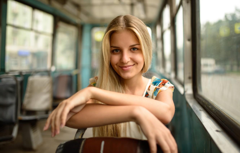 Photo wallpaper look, girl, joy, face, smile, transport, sweetheart, portrait, dress, blonde, tram, seat, beautiful, salon, young, …