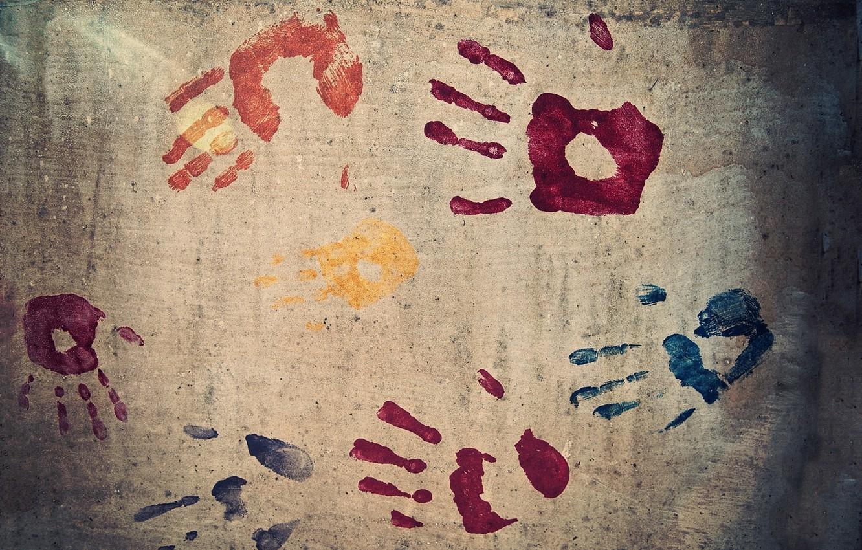 Photo wallpaper wall, paint, hand, texture, fingers, imprint, prints, colours