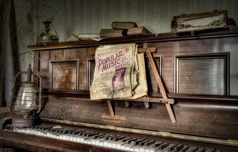 Photo wallpaper notes, music, piano