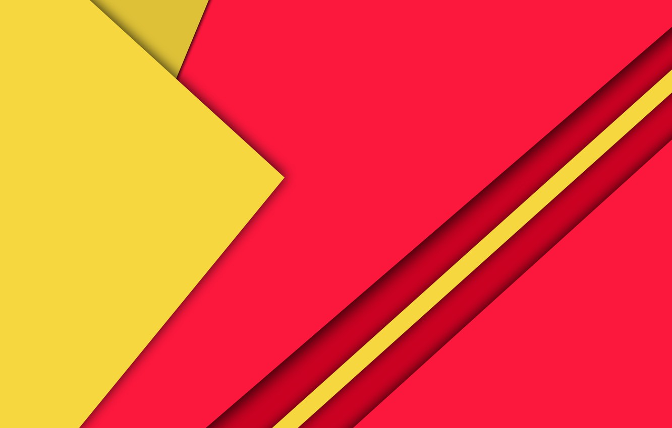 Photo wallpaper Android, Red, Design, 5.0, Lines, Yellow, Lollipop, Material, Triangles, Angles, Abstractions