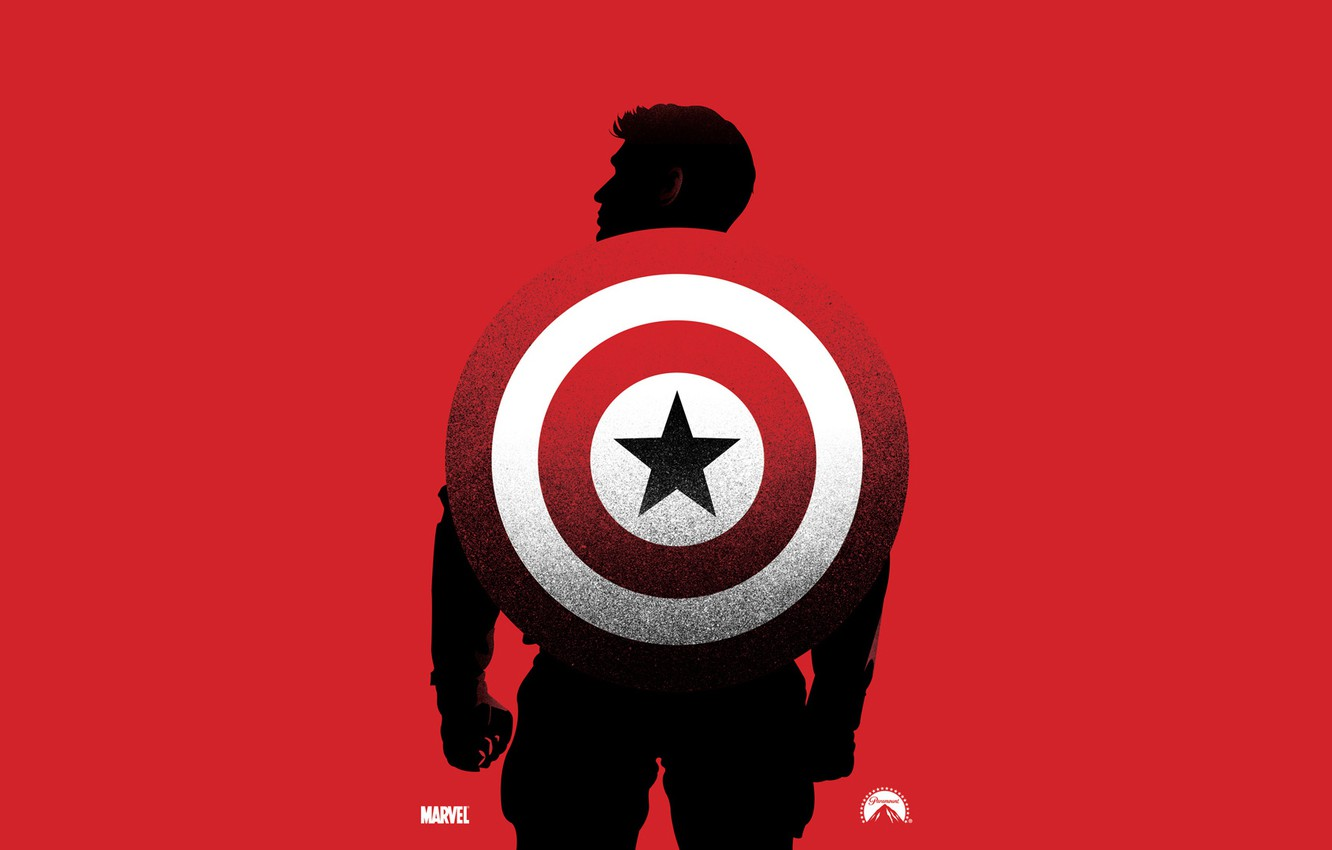 Wallpaper Red Background Silhouette Shield Marvel Comic