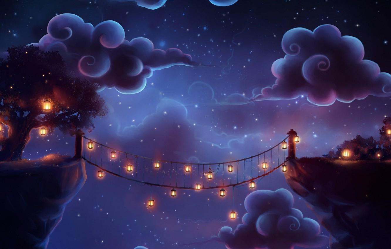 Photo wallpaper clouds, night, bridge, tree, art, lights, trenchmaker