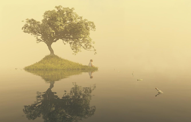 Photo wallpaper water, girl, fog, lake, surface, loneliness, tree, art, bottle, island, notes