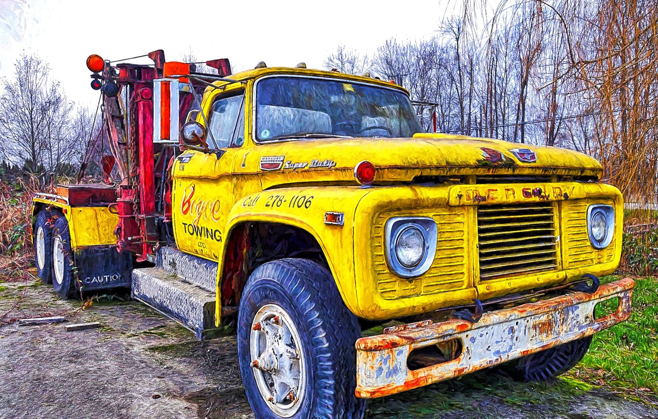 Photo wallpaper background, truck, the front, tractor